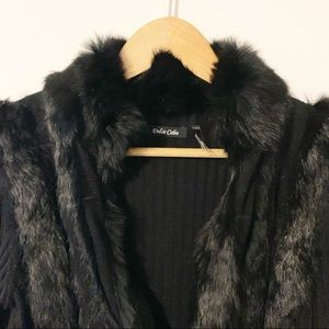 Dolce Cabo Sweaters - Dolce Cabo Fur Trim Zip-Up Cardigan